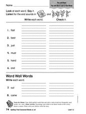Spelling: Final Consonant Blends - st and nd Worksheet