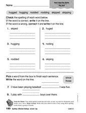 Spelling: Inflected Endings -ed and -ing 1st - 2nd Grade Worksheet ...