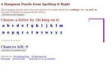 Spelling It Right Hangman Worksheet