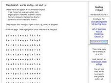 Spelling It Right- Words Ending in -ick and -ic Word Search Worksheet