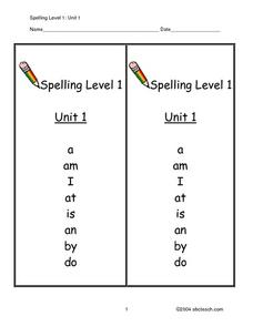 Spelling Level 1: Unit 1 Worksheet