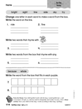 Spelling: Long i: igh, y, i-e Worksheet