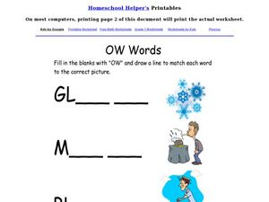 "Spelling Practice: ""-ow"" Words Worksheet"