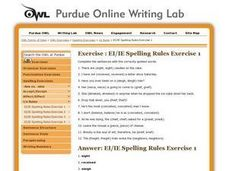 "Spelling Rules: ""ei"" or ""ie"" Worksheet"