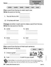 Spelling: Silent Consonants mb and kn Worksheet