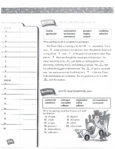 Spelling Units 33 and 34 Review Worksheet