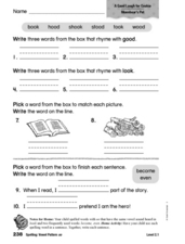 Spelling: Vowel Pattern oo Worksheet