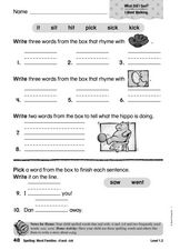 Spelling: Word Families -it and -ick Worksheet