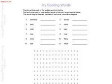 Spelling Words and Word Search Puzzle Worksheet
