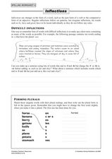 Spelling Worksheet 6: Inflections Lesson Plan