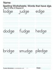 spelling worksheets words that have dge 1st 2nd grade lesson plan lesson planet. Black Bedroom Furniture Sets. Home Design Ideas
