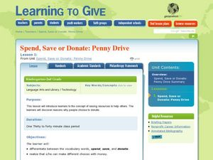 Spend, Save or Donate: Penny Drive Lesson Plan