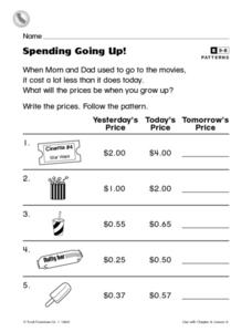 Spending Going Up! Worksheet