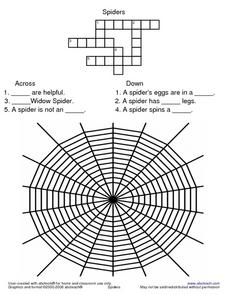 Spiders Crossword--Easy Worksheet