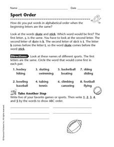 Sport Order Worksheet