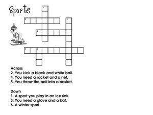 Sports Crossword Puzzle Worksheet