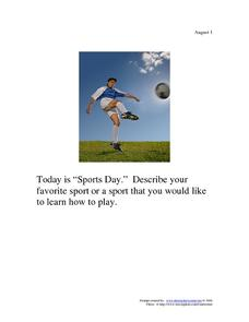 Sports Day: August 1 Worksheet