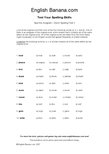 Spot the Anagram--Dolch Spelling Test 3 Worksheet