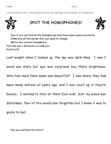 Spot the Homophones Worksheet