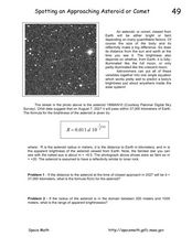Spotting an Approaching Asteroid or Comet Worksheet