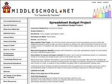 Spreadsheet Budget Project Lesson Plan