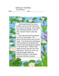 Spring At the Pond- Comprehension Worksheet Lesson Plan