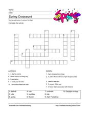 Spring Crossword Puzzle Worksheet
