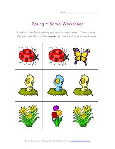 Spring - Same Worksheet Worksheet