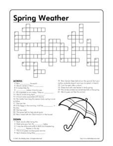 Spring Weather Crossword Puzzle Worksheet