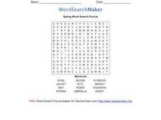 Spring Word Search Puzzle Worksheet