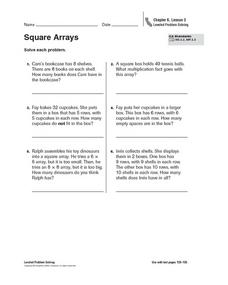 Square Arrays Worksheet