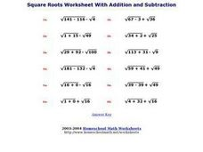 Square Roots Worksheet With Addition and Subtraction Worksheet