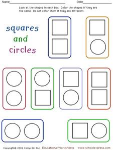 Squares and Circles Recognition 2 Worksheet