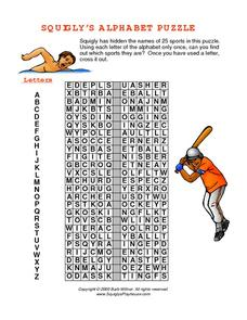Squigly's Alphabet Puzzle: Sports Worksheet