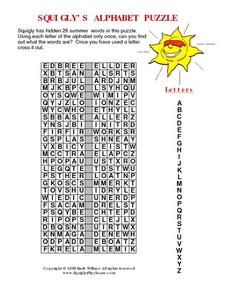 Squigly's Alphabet Puzzle- Summer Words Worksheet
