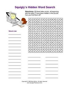 Squigly's Hidden Word Search-- 29 Three Letter Words Beginning with Letter P Worksheet
