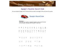 Squigly's Secret Code: Car Worksheet