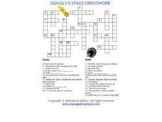 Squigly's Space Crossword Worksheet