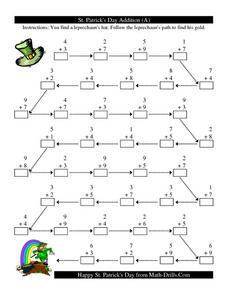 St. Patrick's Day Addition (A) Worksheet