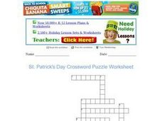 St. Patrick's Day Crossword Puzzle Worksheet