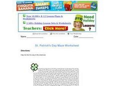 St Patrick's Day Maze Worksheet
