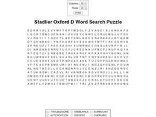 Stadlier Oxford D Word Search Puzzle Worksheet