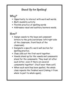 Stand Up for Spelling! Lesson Plan