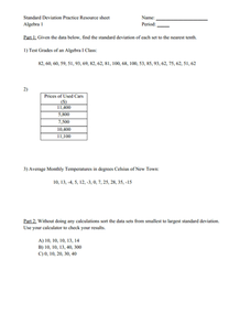 Standard Deviation Practice 9th - 12th Grade Worksheet | Lesson Planet