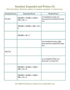 Standard, Expanded and Written Number Form (S) Worksheet