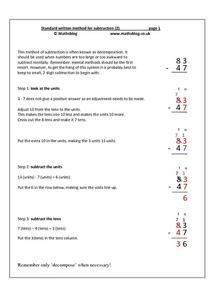 Standard Written Method for Subtraction (2) Worksheet