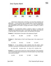 Star Cluster Math Worksheet