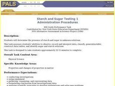 Starch and Sugar Testing 1 Lesson Plan