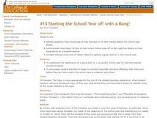 Starting the School Year off with a Bang! Lesson Plan