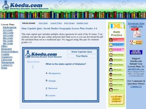 State Capitals Quiz- Social Studies Geography Lesson Plan Grades 3-6 Lesson Plan
